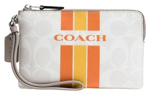 Coach Wristlet in White/ chalk/orange