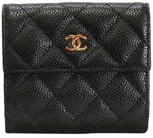 Chanel Authentic NEW Caviar Quilted Flap Compact Small Wallet
