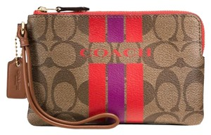 Coach Wristlet in Gold/ khaki/watermelon