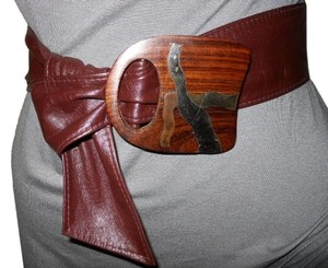 Hand crafted leather belt with inlaid wooden buckle