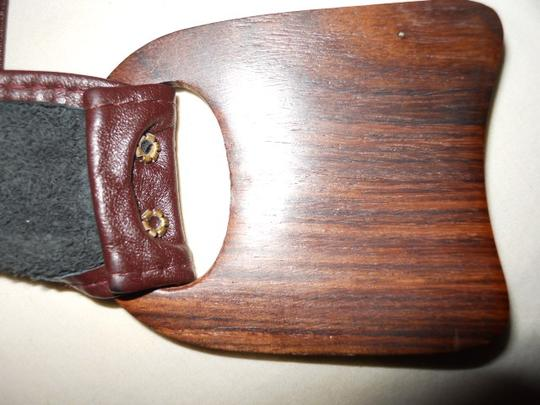 Other Hand crafted leather belt with inlaid wooden buckle
