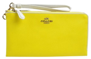 Coach Checkbook Double Zip Wallet Pebble Leather Yellow Clutch