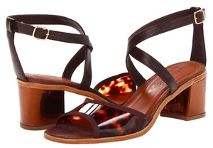 Bernardo Leather Strappy Chunky Bronze Tortoise Sandals