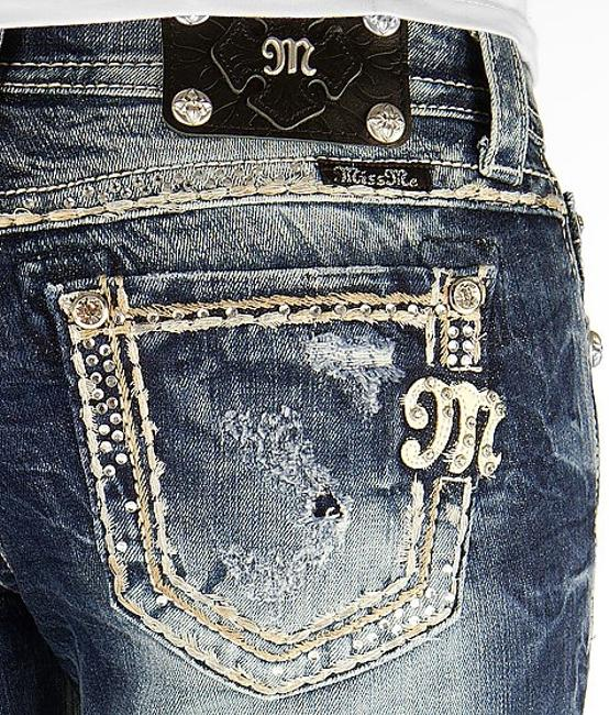 Item - Blue Medium Wash Euc Mid Rise Rhinestone Easy Boot Stretch X 33 Relaxed Fit Jeans Size 31 (6, M)