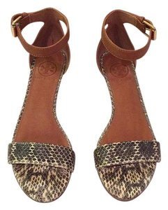 Tory Burch Tan with grey and cream Wedges