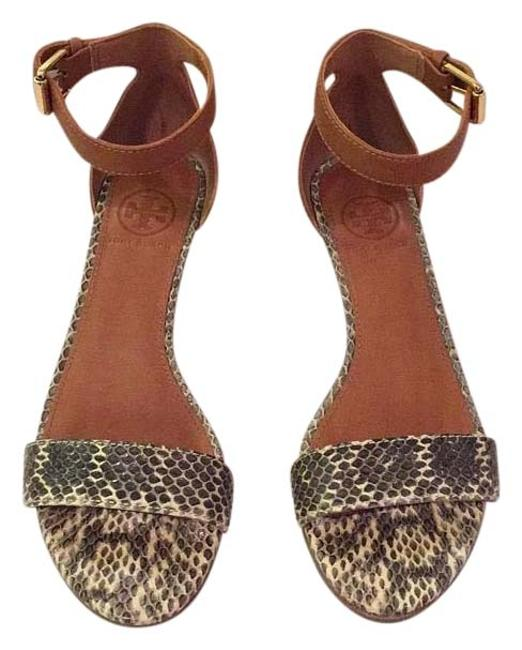 Item - Tan with Grey and Cream Snake Embossed Leather Wedges Size US 5 Regular (M, B)