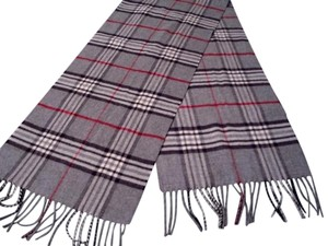 V. FRAAS V. FRAAS Tartan Plaid Cashmink Scarf, Gray with Black and Red Stripes
