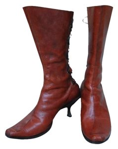 CYDWOQ Vintage Style Lace Up Back Brass Kitten Heel Handcrafted Usa Made Brown Boots