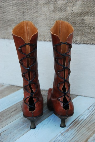 CYDWOQ Vintage Style Lace Up Back Brass Kitten Heel Handcrafted Usa Made Brown Boots Image 3