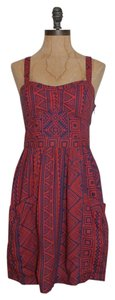American Eagle Outfitters short dress RED BLUE Tribal Print Cross Back Summer on Tradesy