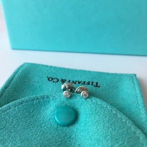 Tiffany & Co. Elsa Peretti Silver Diamonds by the Yard Stud Earrings .06 ctw w/ FULL PACKAGING!!