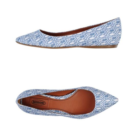 Missoni Crochet Pointed Toe Leather Textured Ballet Pastel Blue Flats Image 2