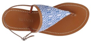 Missoni Crochet Leather Textured Sandal Canvas Azure Flats