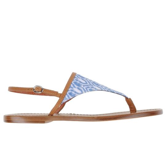 Missoni Crochet Leather Textured Sandal Canvas Azure Flats Image 1