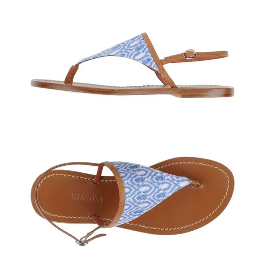 Missoni Crochet Leather Textured Sandal Canvas Azure Flats Image 2