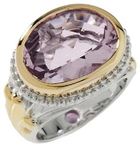 Victoria Wieck Victoria Wieck 6.63ct Pink Amethyst and Amethyst 2-Tone Oval Sterling Silver Ring - Size 7