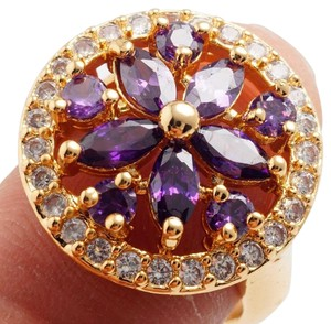 Other New 14K Gold Filled Purple Cubic Zirconia Ring Size 8 Flower J2618