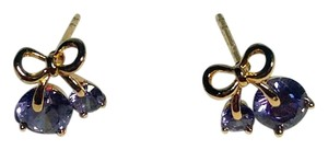 Other 14K White Gold Filled Purple Cubic Ziroconia Cherry Stud Earring J2619