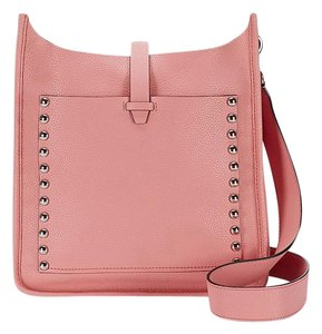 Rebecca Minkoff Leather Studded Silver Pink New With Cross Body Bag