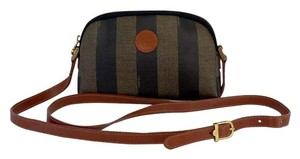 Fendi Brown Striped Coated Canvas Cross Body Bag