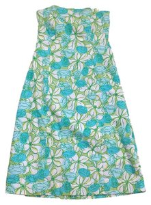 Lilly Pulitzer short dress Blue & Green Floral Strapless on Tradesy