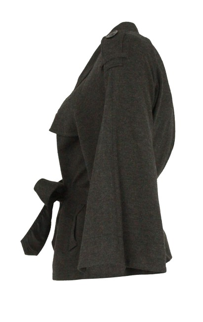 Theory Charcoal Cropped Trench Grey Jacket Image 4