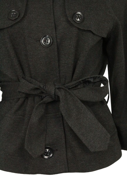 Theory Charcoal Cropped Trench Grey Jacket Image 5