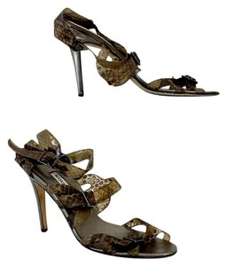 Manolo Blahnik Brown Snakeskin Strappy Heels Sandals