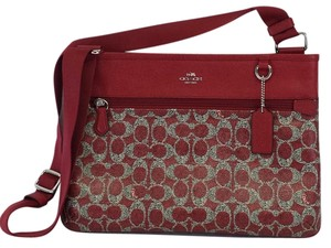 Coach Red & Grey Leather Monogram Messenger Bag