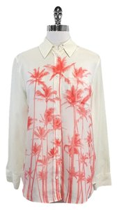 Equipment Ivory Coral Palm Tree Print Top