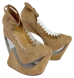 Jeffrey Campbell Beige Clear Platform Wedges
