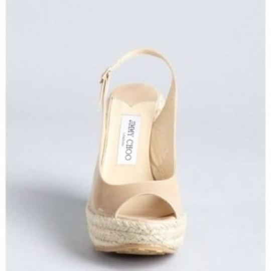 Jimmy Choo Leather Neutral Espadrilles Patent Nude Wedges