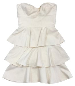 Amanda Uprichard short dress Cream Strapless Ruffle on Tradesy