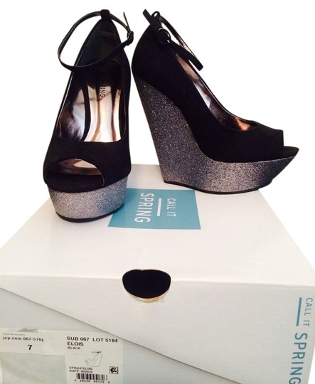 Call It Spring Peep Toe Platform Glitter Mary Jane Black & Silver Wedges