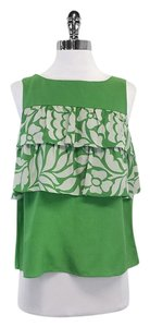Tibi Green Grey Floral Accent Silk Top