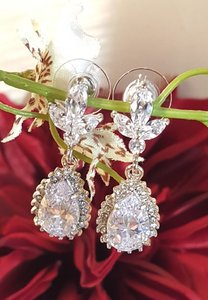 Bridal Tear Drop Earrings Cz Prong Setting Pierced