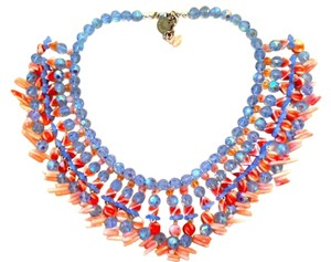 Periwinkle and Coral Cleopatra Choker