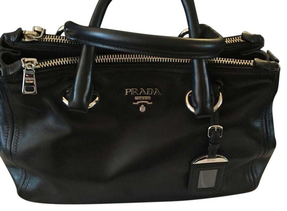 857b042617 Prada Bn2866 Nero Soft Calf Tote Black Smooth Leather Satchel 73% off retail
