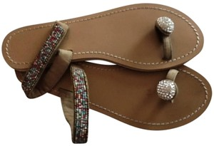 Skemo Sandals Jeweled Tan Leather with beading and crystals Flats