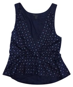 Marc Jacobs Navy Floral Print Silk Top