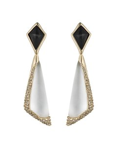 Alexis Bittar New Alexis Bittar Angular Earrings White And Black Crystal Encrusted Clip-on