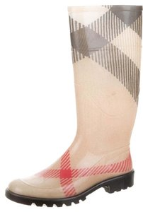 Burberry Round Toe Exploded Check Beige, Black Boots