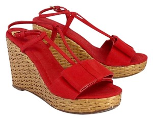 Kate Spade Red Canvas Bow Woven Straw Wedges