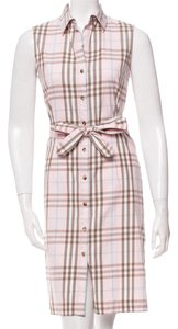 Burberry short dress Pink, Beige, Black Nova Check Sleeveless Belted on Tradesy