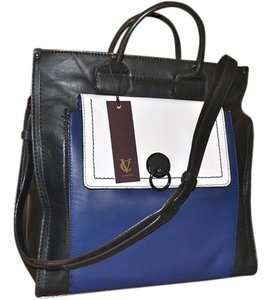 Vince Camuto Color-blocking Leather Shoulder Strap Mod Tote in Black Blue and Ivory White
