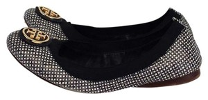 Tory Burch Black White Square Print Flats