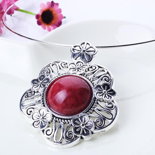 Red & Silver Necklace Earring Set Free Shipping