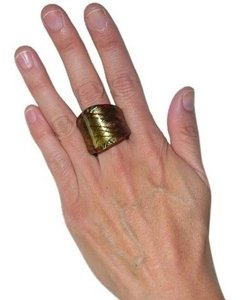 Other Italian Murano Glass-INSPIRED Hatched Gold Foil Concave Lucite Ring