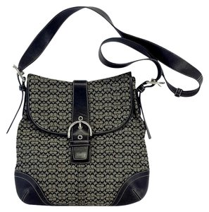 Coach Taupe & Black Monogram Canvas Cross Body Bag