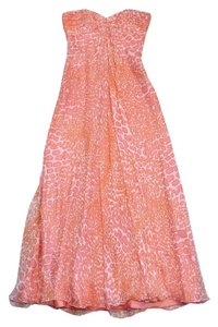 Maxi Dress by Laundry by Shelli Segal Orange & Pink Leopard Print Silk Strapless Maxi
